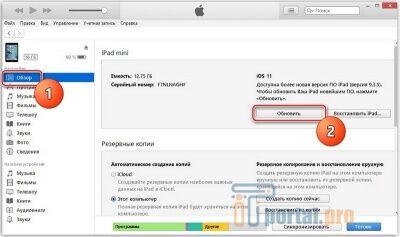 Скриншот процедуры обновления iPad